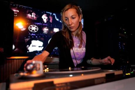 Cambridge, MA -- 01/12/12 -- DJ Lenore Fauliso plays at Elements drum and bass night at Phoenix Landing nightclub in Cambridge, MA. (Kayana Szymczak for the Boston Globe)